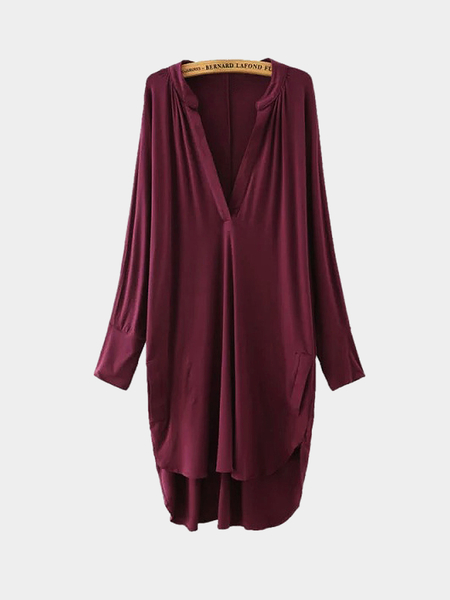Burgundy Asymmetric V Neck Dress