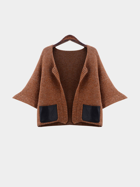 Plus Size Brown Knitted Cardigan