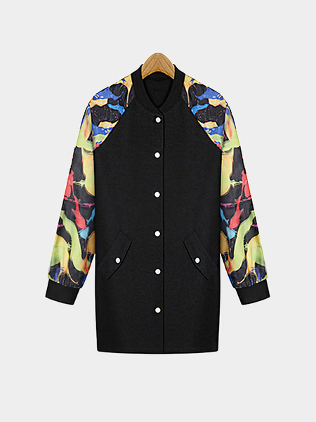 Plus Size Printing Longline Fashion Jacket