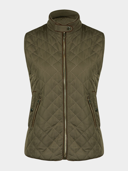 Quilted Gilet in Khaki