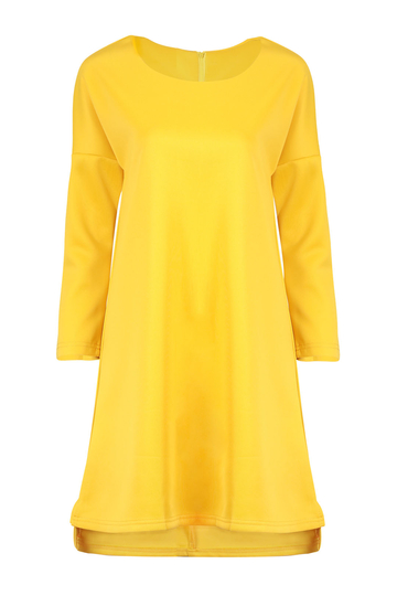 Scalloped Hem Dress with 1/2 Sleeve