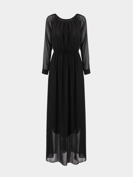 Black Maxi Chiffon Dress