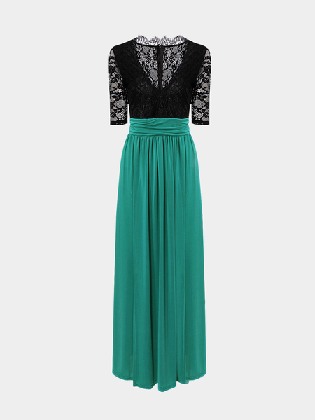 Black and Green Maxi Dress with Thigh Split