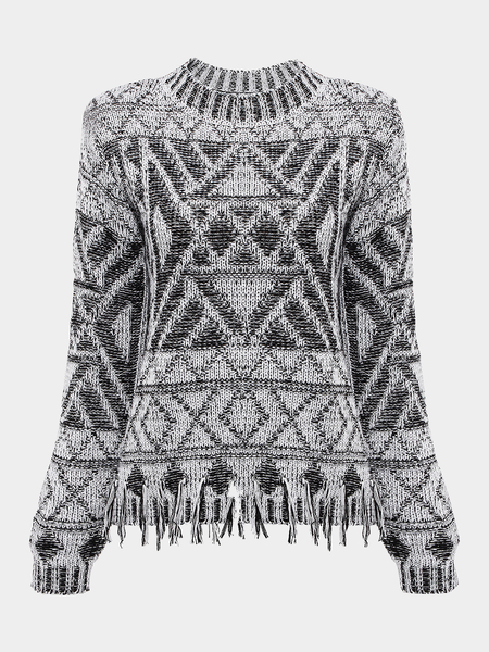 Rhombus Print Jumper with Fringe Trim Detail