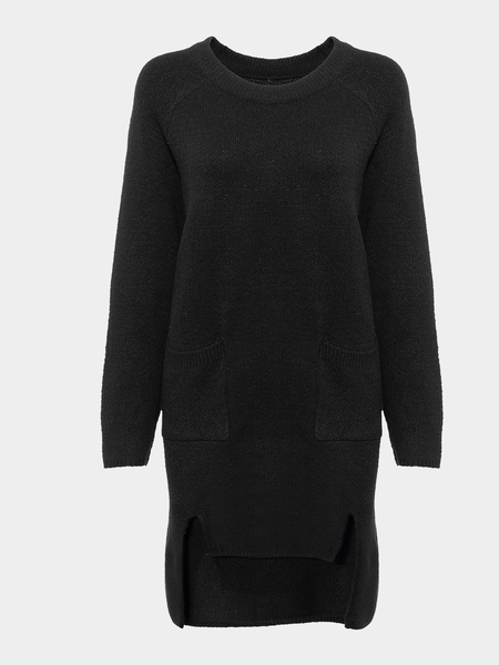 Black Longline Jumper with Split Front