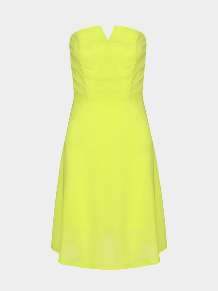 Yellow Strapless Dress with Zip Back - US$19.95 -YOINS