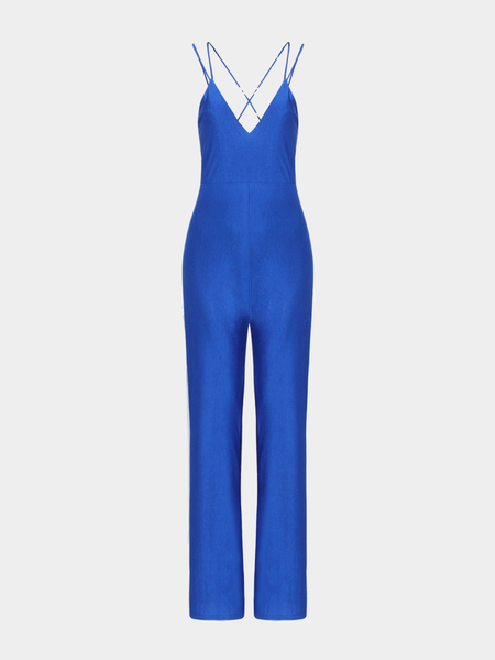 V-neck Jumpsuits in Blue