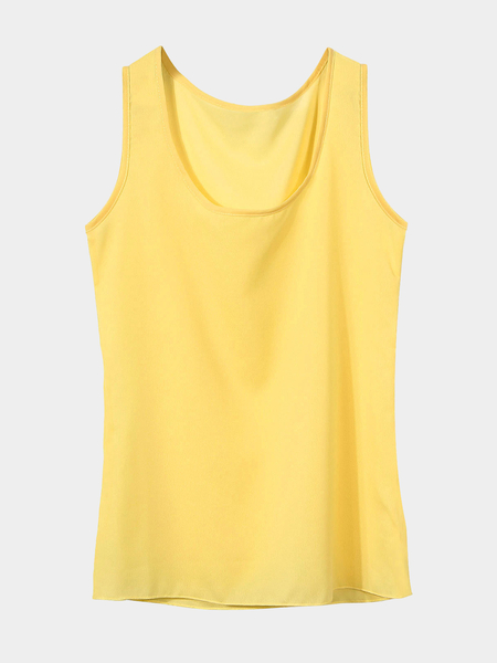 Yellow Round Neck Chiffon Vest