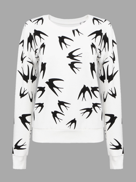 White Sweatshirt with Black Swallow Print