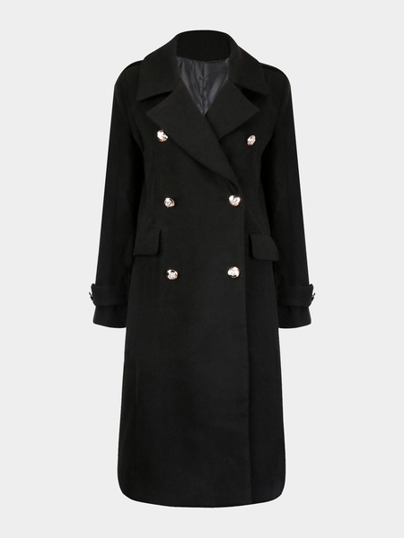 Black Longline Woolen Trench Coat