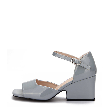 Blue Patent Leather Look Block Heel Sandals