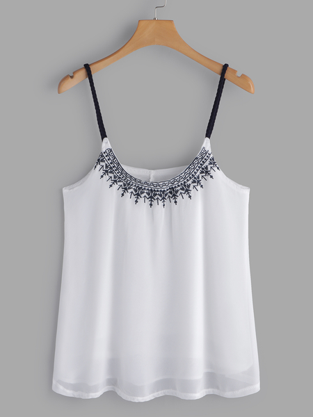 White Embroidered Pattern Deep V-Neck Sleeveless Camis
