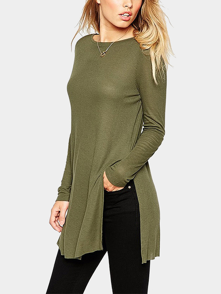 Split Design Plain Color Round Neck T-shirt