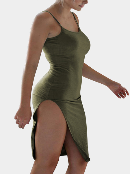 Bodycon Strick-Oberschenkel-Schlitz-Midi-Slip-Kleid in Army Green