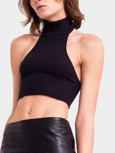 Black Halter Backless Sexy Mini Vest