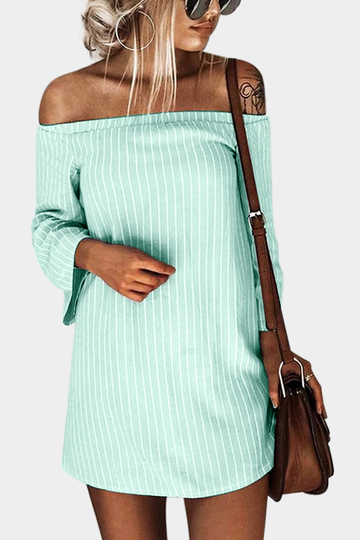 Green Sexy Off Shoulder Lace Up Stripe Patern Mini dress