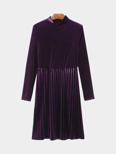Purple Crew Neck Long Sleeves Pleated Dress