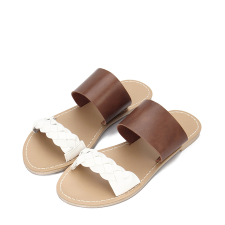 Brown Leather Look Strap Flat Slippers With White Woven Strap