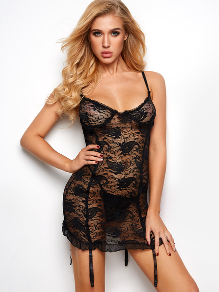 Black Lettuce Edge Ruffle Floral Lace Lingerie Garters Babydoll with G-strings