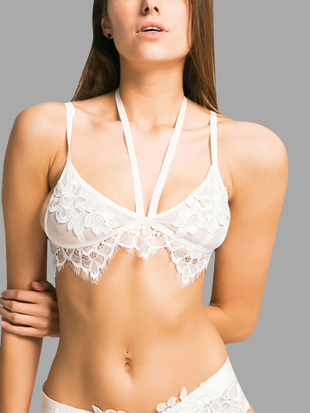 Low Cut V-neck Applique Mesh Bralette in White