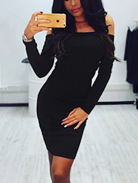 Black Off Shoulder Long Sleeves Midi Knit Dress