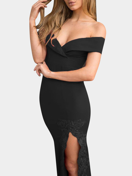 Black Deep V-neck Off Shoulder Crochet Lace Slit Hem Sexy Maxi Dress