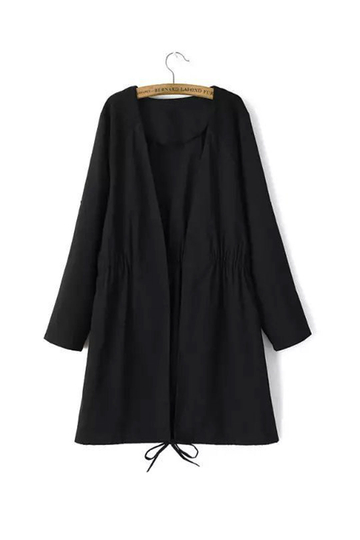 Drawstring Waist Tab Draped Sleeves Stitching Black Coat