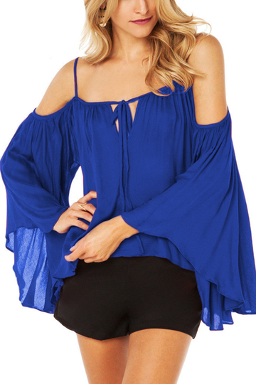 Cold Shoulder Bat Sleeves Chiffon Blouse in Blue