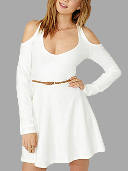 Sexy Cold Shoulder Dress Without Waist Strap