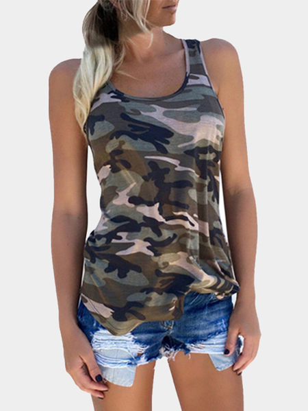 Camouflage Round Neck Y-back Sleeveless Top in Army Green