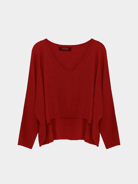 Burgundy V-Neck Irregular Crop Top in Knit
