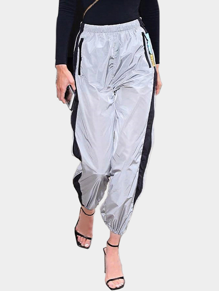 Active Contrast Color High Waisted Sports Pants in Grey
