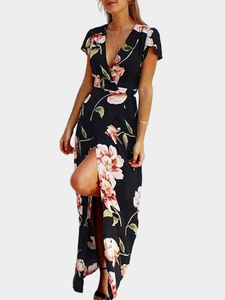 Low Cut V neckline Random Floral Print Wrap Maxi Dress