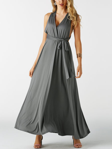 Grey Multi-way Lace-up Design Long Sexy Party Dress