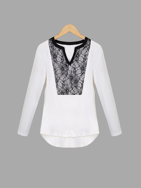 Plus Size White Lace Splicing Soft Top