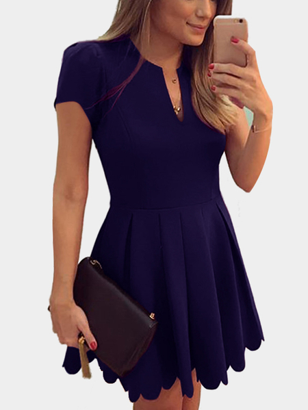 Navy V-neck Dress with High-waisted Design