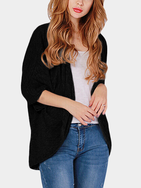 Black Long Sleeves Irregular Hem Causal Cardigan