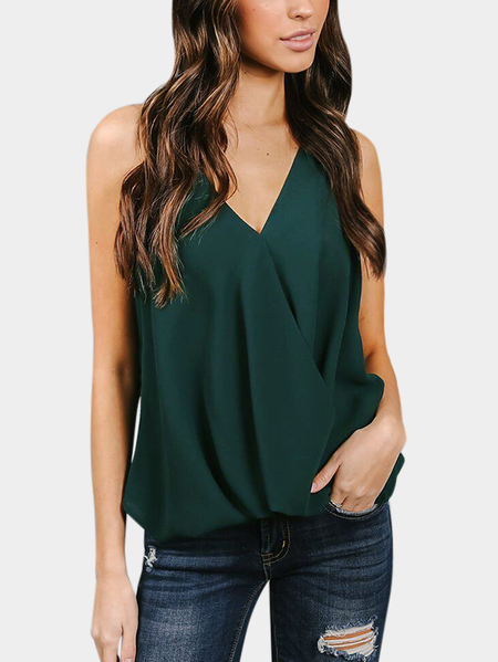 Green Crossed Front Design V-neck Sleeveless Backless Camis