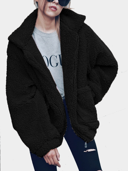Black Cozy Oversize Zip-Up Faux Fur Coat