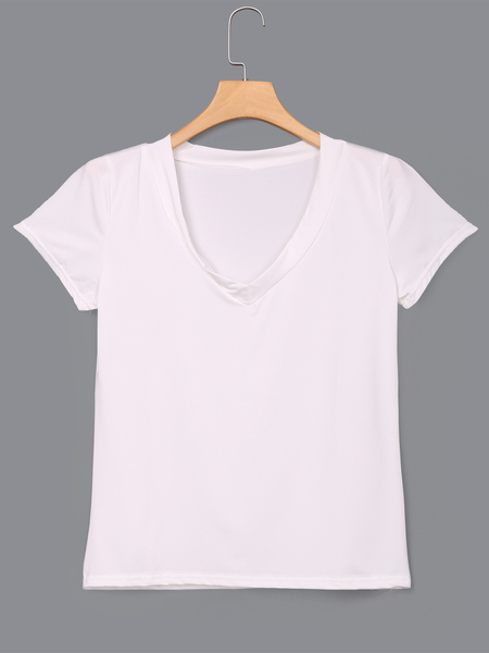White Low Cut V-neck T-shirts