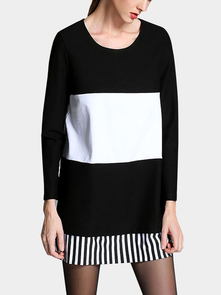Plus Size Black Dress With White Color Block