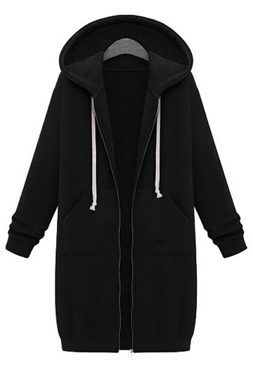 Drawstring Loose Hoodie in Black