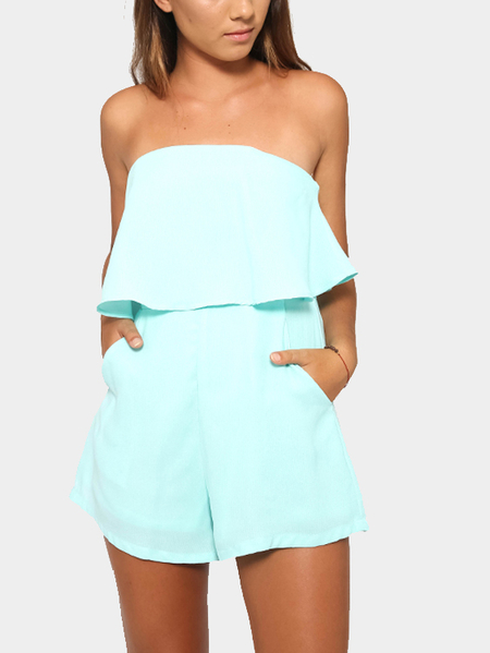 Off The Shoulder Playsuit com detalhes em camadas em Light-blue