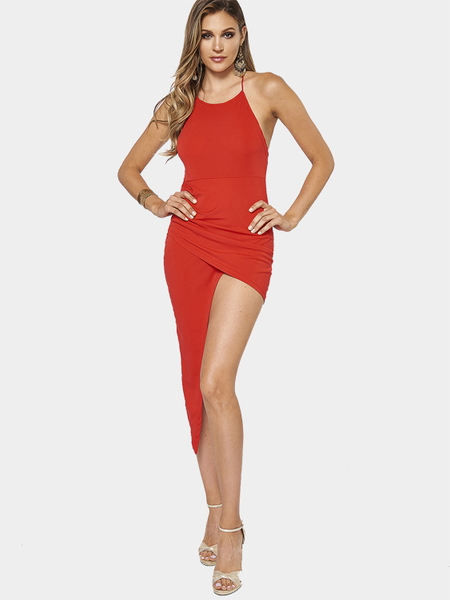 Red Round Neck Backless Midi Dress