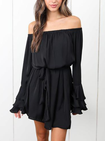Black Off The Shoulder Self-tie Ruffle Sleeves Mini Dress