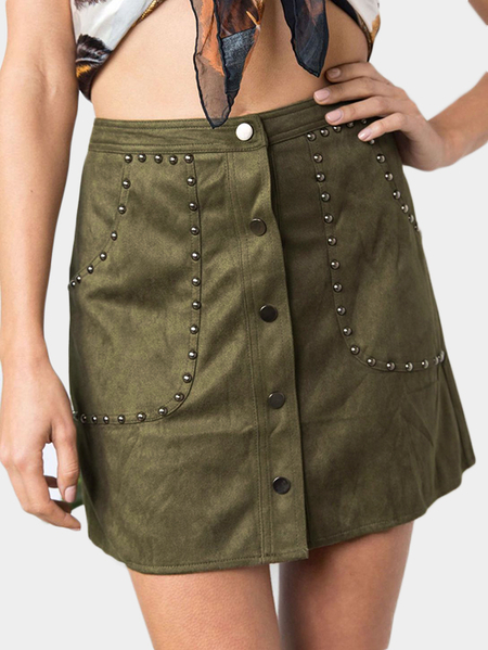 Army Green Rivet & Button Design Suede A Line Mini Skirt