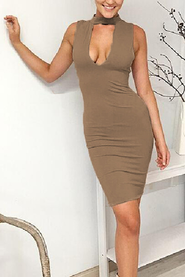 Kaiki Sexy Bodycon Sleeveless Midi Dress