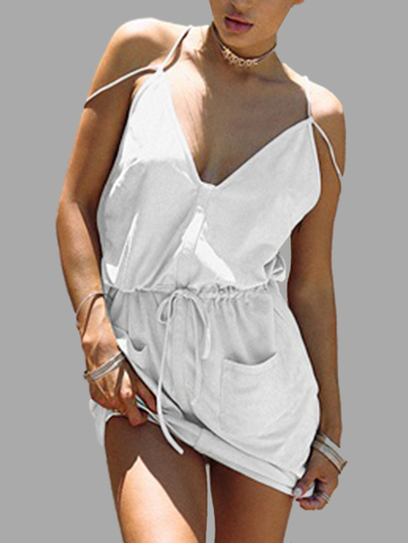 Sweet V-neck Drawing-waist Mini Slip Dress in White