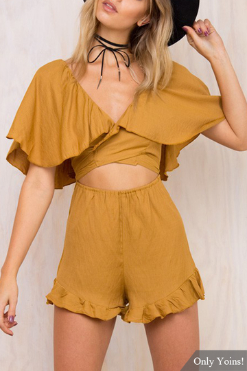 Mid Sleeves Low Cut V-neckline Hollow Out Co-ord Set