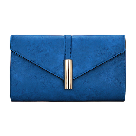 Metal Bar do Couro-olhar Envelope Clutch Bag in Blue com alça de ombro